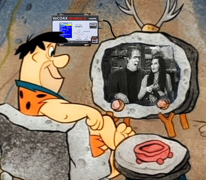Fred Flintstone watching TV VeCOAX HDMI to RF modulator