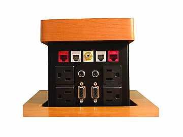 PNP517C Pop N Plug Tabletop Box w Wood Cover/VGA/RJ-45/RJ-11/RCA/Audio by Altinex
