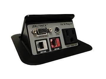 TNP121S Tilt N Plug Jr Tabletop Box VGA/3.5mm/CAT6/RJ-11 Silver by Altinex