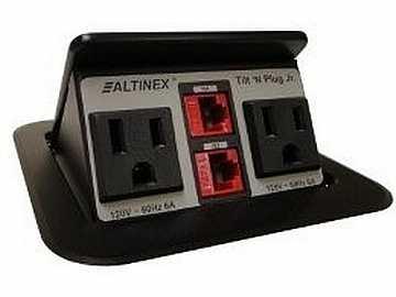 TNP151 Tilt N Plug Jr Tabletop Box w 2 x Power/2 x RJ-45/Black by Altinex