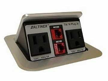 TNP151S Tilt N Plug Jr Tabletop Box w 2 x Power/2 x RJ-45/Silver by Altinex