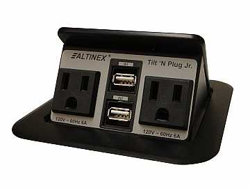 TNP155 Tilt n Plug Jr Tabletop Interconnect Box w 2x2 Charging USB/Power by Altinex