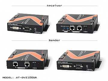 AT-DVI100SR-b DVI with RS232/Analog Audio Extender (Receiver/Transmitter) Kit over Cat5/6 up to 330ft by Atlona