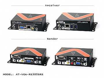 AT-VGA-RS300SRS-b VGA/Stereo Audio/RS232/IR Extender (Transmitter/Receiver) Over SINGLE CAT5/6 by Atlona