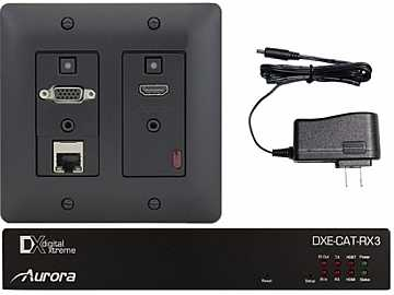 DXW-2E-S3C-B HDBaseT HDMI/VGA/LAN WP Extender Kit with IP Black by Aurora Multimedia