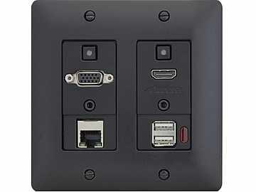 DXW-2EU-B HDMI/VGA/Ethernet/USB Wall Plate Extender (Transmitter) Black by Aurora Multimedia