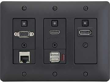 DXW-3EUH-B HDMI/VGA/DP/Net/USB Host WP Extender (Transmitter) Black by Aurora Multimedia