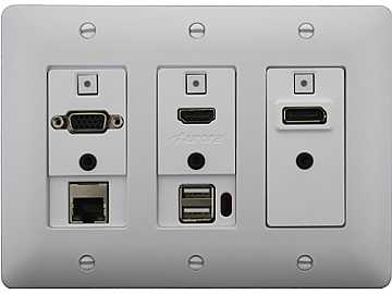 DXW-3EUH-W HDMI/VGA/DP/Net/USB Host WP Extender (Transmitter) White by Aurora Multimedia