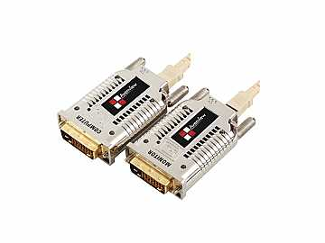 FO-DVI-1000M-EMI DVI Extender(Transmitter/Receiver) Set over Fiber with EMI Shielding by Avenview