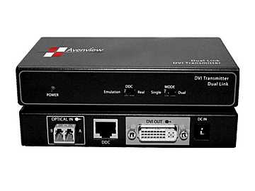 FO-DVI-DL-330X Dual Link DVI Extender(Transmitter/Receiver) Set over 2 LC Fiber Cable by Avenview