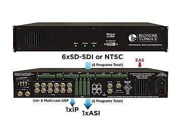 SDE-6S-ASI 6xSD-SDI/6xNTSC to 1xASI MPEG-2 SD Encoder/Multiplexer by Blonder Tongue