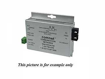 CNFE1005POEMHO/M 2fiber SM ST Hardened 100Mbps MediaConverter 48V POE 60W by Comnet