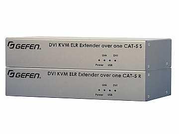 EXT-DVIKVM-ELR DVI USB KVM Extender (Receiver/Sender) Kit over Cat5 (330ft) by Gefen