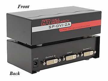 SP-DVI-2A 2 Port DVI Splitter/Extender by Hall Research
