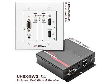 UHBX-SW3 VGA/HDMI MHL Auto-Switching Wall Plate Extender (Receiver/Sender) Kit with HDBaseT by Hall Research