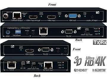 KD-X1000ProK HDBaseT/HDMI/VGA/Audio via CAT5e/6 Extender (Transmitter/Receiver) Set by Key Digital
