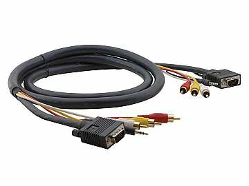 C-MH1/MH1-10 Hydra 15-Pin HD/3.5mm/3 RCA (M-M)/Molded Cable - 10ft by Kramer