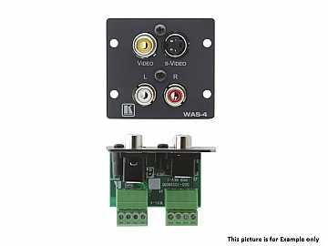 WAS-4(B) Wall Plate Insert - S-Video and 3 RCA to Terminal Block/Black by Kramer