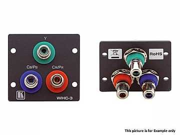WHC-3(B) 3 RCA (F) to 3 RCA (F) Pass-Through Wall Plate/Black by Kramer