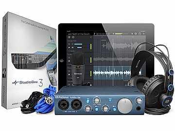 AudioBox iTwo Studio 2x2 USB 2.0 Recording System/iPad Audio Interface/2 Mic Inputs/MIDI w HD7 Headphones/M7 Mic/Studio One Artist by PreSonus