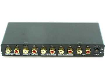 SB-3705 1x4 Stereo Audio Distribution Amplifier Splitter by Shinybow