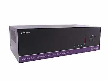 DVN-4TRIOS 4x3 DVI-D/USB2.0/1.1 /Stereo Audio KVM Switcher by Smartavi